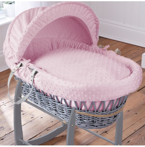 Clair De Lune Deluxe Padded Grey Wicker Baby Moses Basket - Pink Dimple