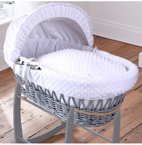 Clair De Lune Deluxe Padded Grey Wicker Baby Moses Basket - White Dimple