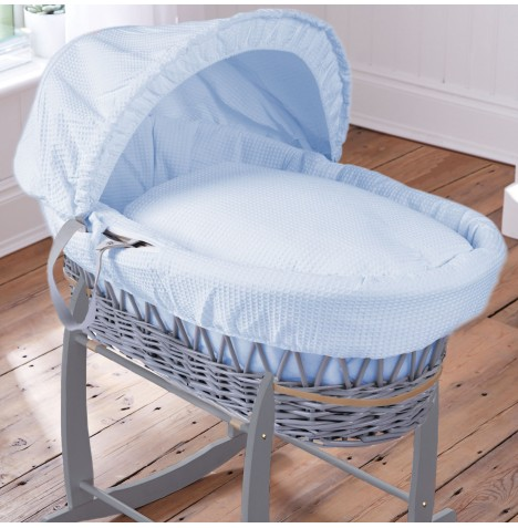 Clair De Lune Deluxe Padded Grey Wicker Baby Moses Basket - Waffle Blue