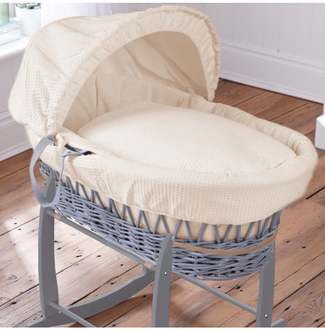 Clair De Lune Deluxe Padded Grey Wicker Baby Moses Basket - Waffle Cream