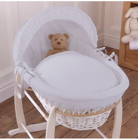 Clair De Lune Deluxe Padded White Wicker Baby Moses Basket - Waffle Grey