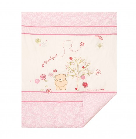 Izziwotnot Forever Friends Cot / Cot Bed Quilt - Beautiful Pink