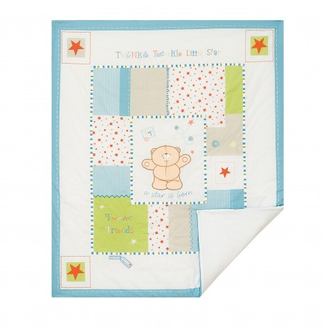 Izziwotnot Forever Friends Cot / Cot Bed Quilt - Little Star Blue