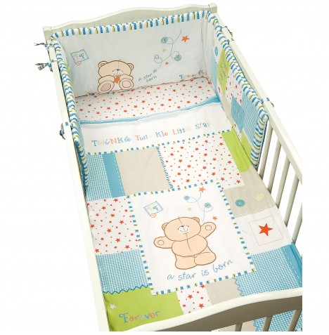 Izziwotnot Forever Friends Cot / Cot Bed Quilt & Bumper - Little Star Blue
