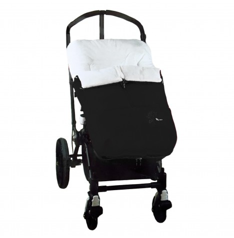 Interbaby Designer Plush Pushchair Polar Cocoon Footmuff - Black..