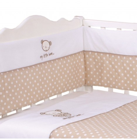 My Little World 3 Piece Cot Bedding Bale Set - Polka Bear Cream