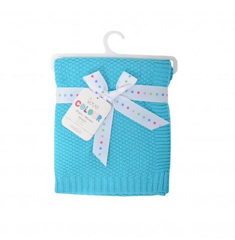 Silvercloud Love Colour Cotton Pram / Pushchair / Car Seat / Crib / Moses Basket Blanket - Turquoise Waffle