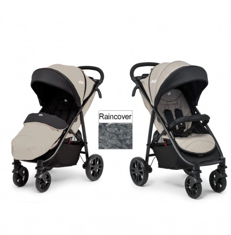 joie litetrax 4 wheel pushchair stroller with footmuff and raincover khaki ebay. Black Bedroom Furniture Sets. Home Design Ideas