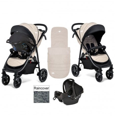 joie khaki litetrax 4 wheel travel system pushchair with footmuff raincover. Black Bedroom Furniture Sets. Home Design Ideas