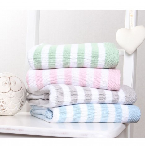 Clair De Lune Knitted Stripe Pram / Moses Basket / Crib Blanket - Mint