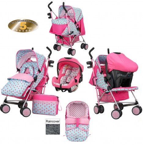 Obaby Zeal Travel System & Carrycot - Cottage Rose
