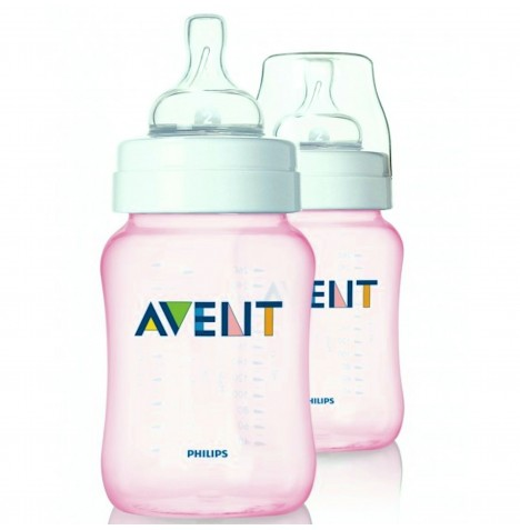 Philips Avent Limited Edition Pink Feeding Bottles (9oz/260ml) - 2 Pack
