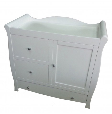 4baby Sleigh Dresser / Changing Unit - White..