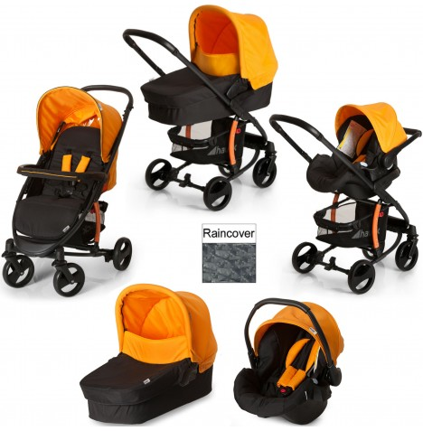 Hauck Miami 4 S Trio Set Travel System - Caviar / Orange