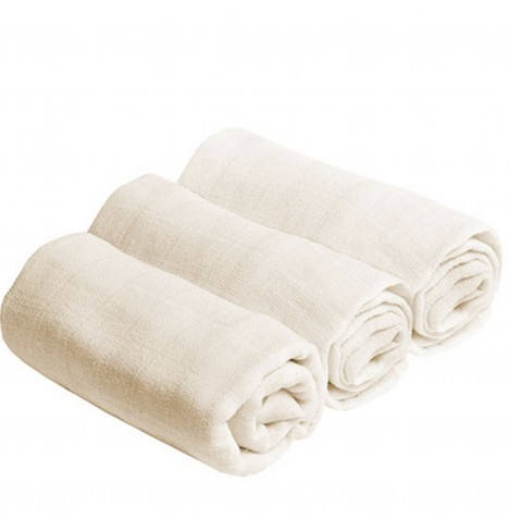 Bee Bo Cotton Muslin Squares (3 Pack) - Cream