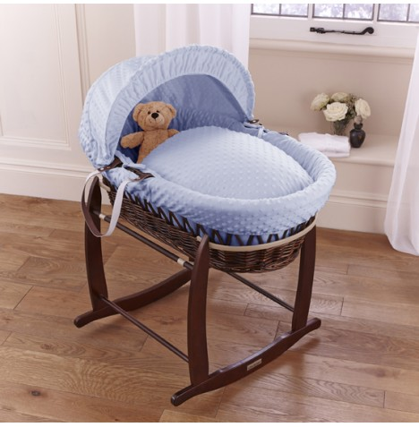 Clair De Lune Deluxe Padded Dark Wicker Baby Moses Basket + Deluxe Rocking Stand - Blue Dimple