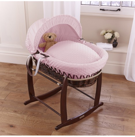 Clair De Lune Deluxe Padded Dark Wicker Baby Moses Basket + Deluxe Rocking Stand - Pink Dimple