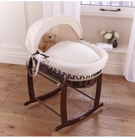 Clair De Lune Deluxe Padded Dark Wicker Baby Moses Basket + Deluxe Rocking Stand - Cream Dimple