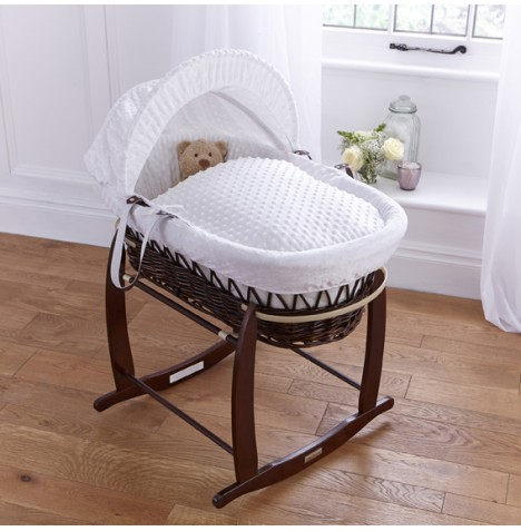 Clair De Lune Deluxe Padded Dark Wicker Baby Moses Basket + Deluxe Rocking Stand - White Dimple