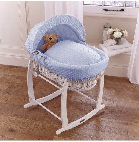 Clair De Lune Deluxe Padded White Wicker Baby Moses Basket + Deluxe Rocking Stand - Blue Dimple