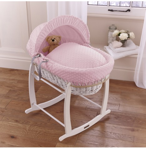 Clair De Lune Deluxe Padded White Wicker Baby Moses Basket + Deluxe Rocking Stand - Pink Dimple