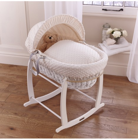 Clair De Lune Deluxe Padded White Wicker Baby Moses Basket + Deluxe Rocking Stand - Cream Dimple