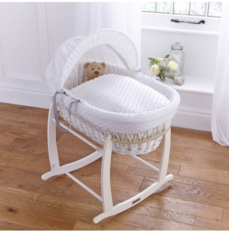 Clair De Lune Deluxe Padded White Wicker Baby Moses Basket + Deluxe Rocking Stand - White Dimple