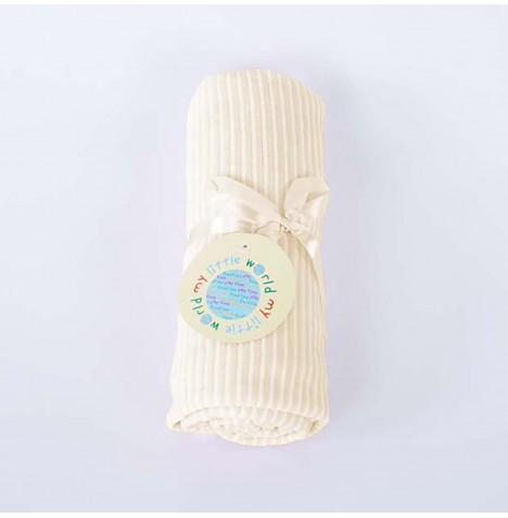 My Little World Pram / Moses / Crib Velour Blanket - Cream Stripe