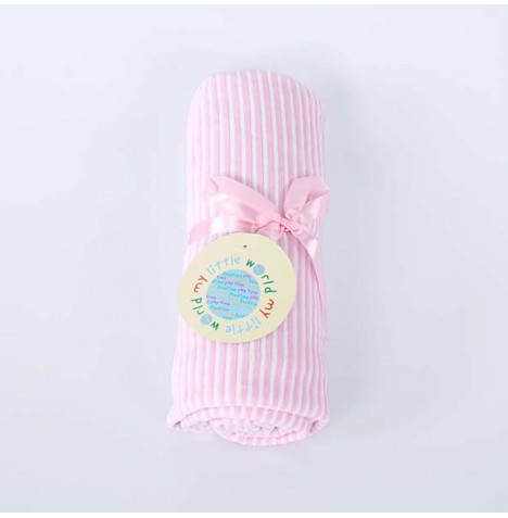 My Little World Pram / Moses / Crib Velour Blanket - Pink Stripe
