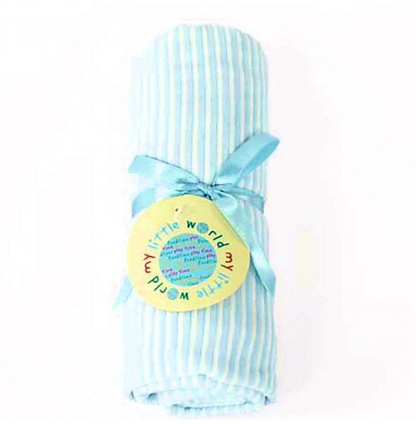 My Little World Pram / Moses / Crib Velour Blanket - Blue Stripe