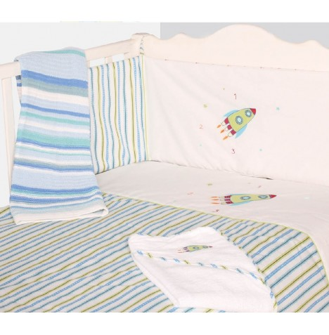 My Little World Quilt & Bumper Baby Bale Set - Rocket