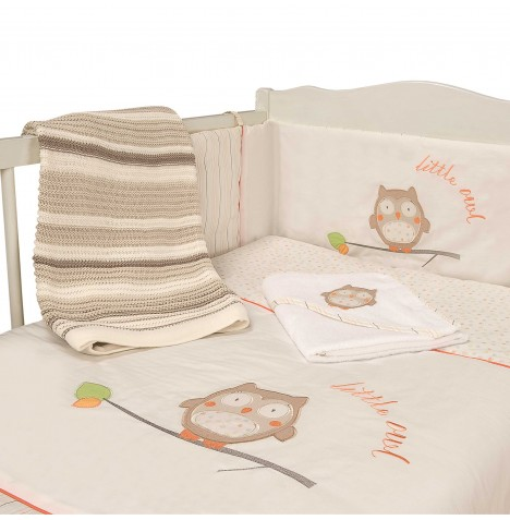 My Little World Quilt & Bumper Baby Bale Set - Owl