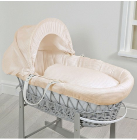 4baby Deluxe Padded Grey Wicker Moses Basket - Cream Waffle