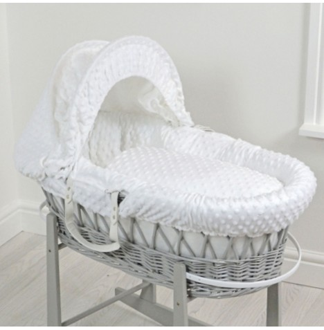 4baby Deluxe Padded Grey Wicker Moses Basket - White Dimple