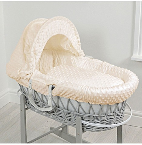 4baby Deluxe Padded Grey Wicker Moses Basket - Cream Dimple