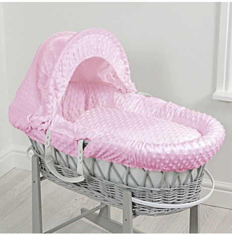 4baby Deluxe Padded Grey Wicker Moses Basket - Pink Dimple