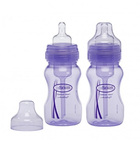 Dr Browns Natural Flow Special Edition Wide Neck Feeding Bottles Pack of 2 (8oz / 240ml) - Purple