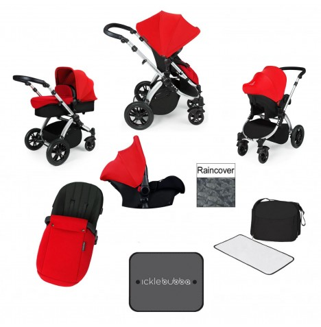 Ickle bubba Stomp V3 Silver All In One Travel System - Red