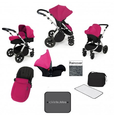 Ickle bubba Stomp V3 Silver All In One Travel System - Pink