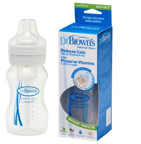 Dr Browns Natural Flow Wide Neck Feeding Bottle (8oz / 240ml) - White