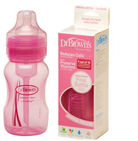 Dr Browns Natural Flow Wide Neck Special Edition Feeding Bottle (8oz / 240ml) - Pink