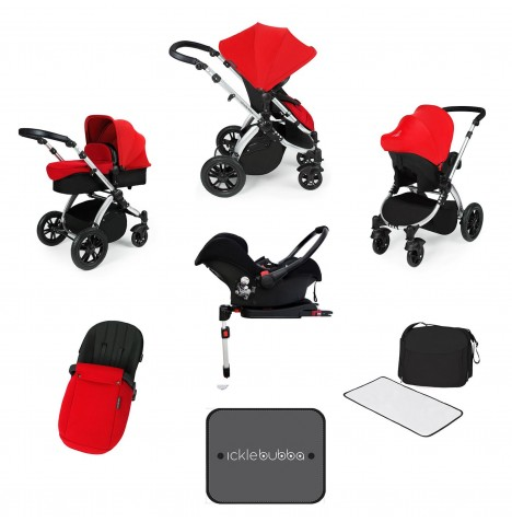 Ickle bubba Stomp V3 Silver All In One Travel System & Isofix Base - Red