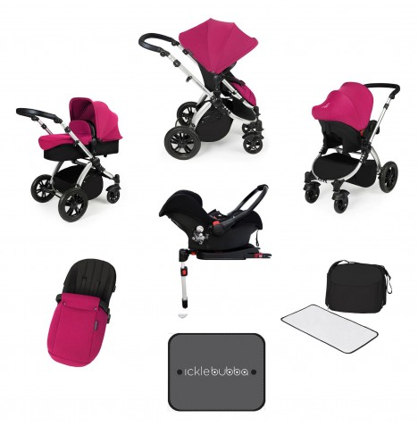Ickle bubba Stomp V3 Silver All In One Travel System & Isofix Base - Pink