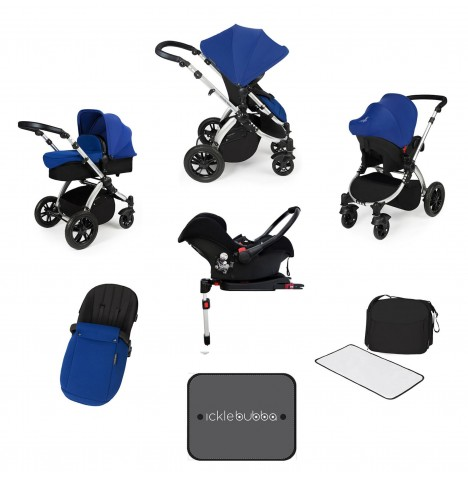 Ickle bubba Stomp V3 Silver All In One Travel System & Isofix Base - Blue