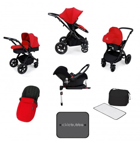 Ickle bubba Stomp V3 Black All In One Travel System & Isofix Base - Red