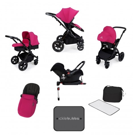 Ickle bubba Stomp V3 Black All In One Travel System & Isofix Base - Pink