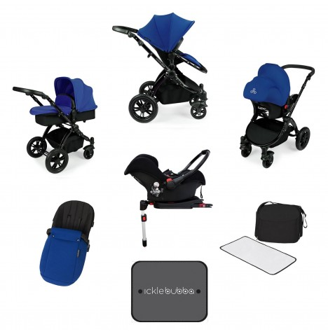 Ickle bubba Stomp V3 Black All In One Travel System & Isofix Base - Blue