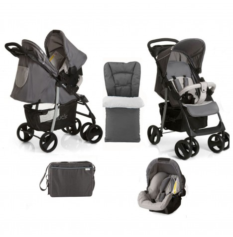 Hauck Deluxe Shopper SLX Shop n Drive Travel System + Accessories - Stone / Grey