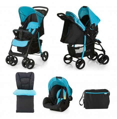 Hauck Deluxe Shopper SLX Shop n Drive Travel System + Accessories - Caviar / Aqua