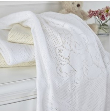 Clair De Lune Extra Soft Brushed Cotton Cot /Cot Bed Blanket - Teddy & Friends White